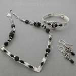 Wire Collar, Bracelet and Earrings - Silver and Black 7